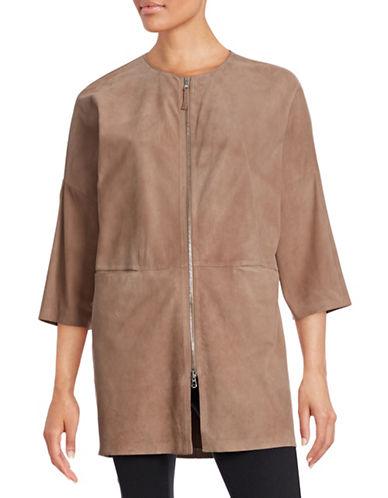 Eleventy Suede Dolman-Sleeve Jacket-PINK-EUR 44/US 8