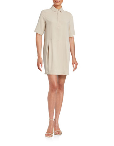Eleventy Crepe Shirt Mini Dress-BEIGE-EUR 42/US 6