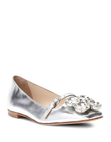 Frances Valentine Josephinemk Square Toe Gold Ballet Flats-SILVER-7