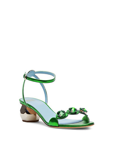Frances Valentine Beatrixmk Jeweled Heel Sandals-GREEN-6
