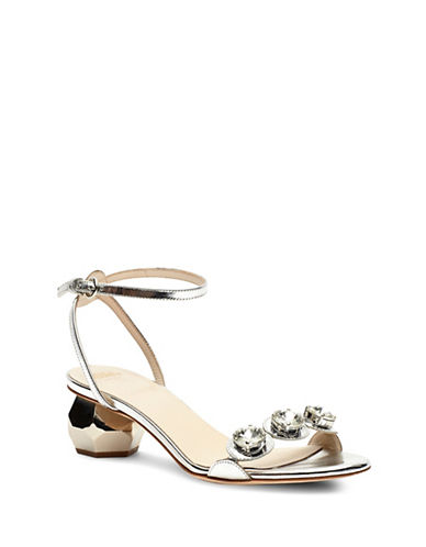 Frances Valentine Beatrixmk Jeweled Heel Sandals-SILVER-6