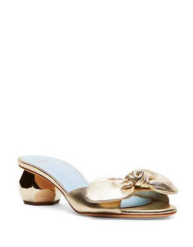 Frances Valentine Dottie Leather Slides-GOLD-6
