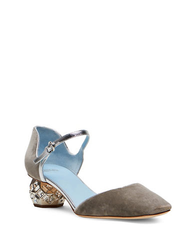 Frances Valentine Ellav Closed-Toe Jeweled Heel Sandals-GREY-8