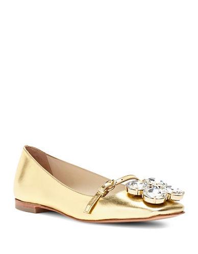 Frances Valentine Josephinemk Square Toe Gold Ballet Flats-GOLD-7