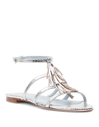 Frances Valentine Mia Fringe Slingback Sandals-SILVER-6