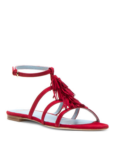 Frances Valentine Mia Fringe Slingback Sandals-RED-6