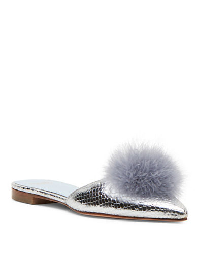 Frances Valentine Pauline Leather Pom-Pom Slides-SILVER-8