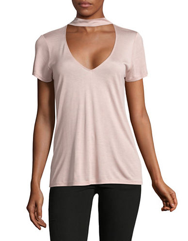 Design Lab Lord & Taylor Valerie Choker Tee-PINK-X-Small 89257647_PINK_X-Small