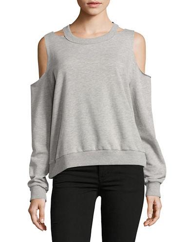 Design Lab Lord & Taylor Cold-Shoulder Sweatshirt-GREY-Large 89257657_GREY_Large