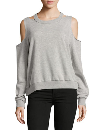 Design Lab Lord & Taylor Cold-Shoulder Sweatshirt-GREY-Small 89257655_GREY_Small