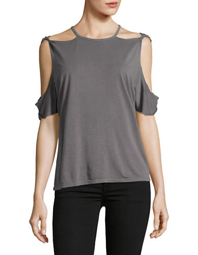 Design Lab Lord & Taylor Double-Shoulder Cut-Out Top-GREY-Medium