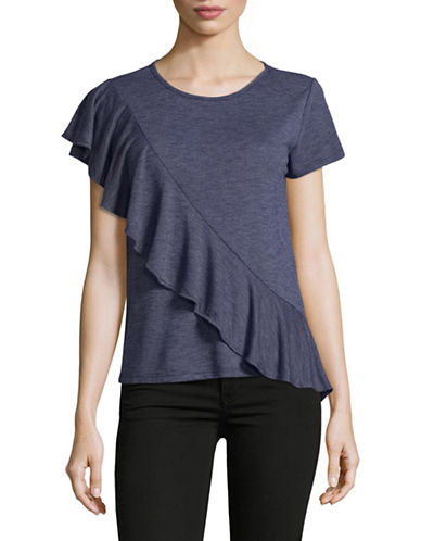 Design Lab Lord & Taylor Ruffle Front T-Shirt-BLUE-Small