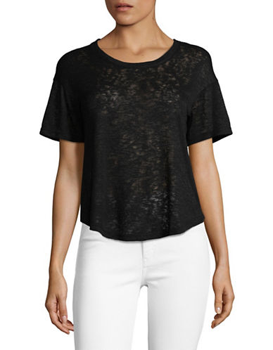 Design Lab Lord & Taylor Surplice Back Top-BLACK-X-Small