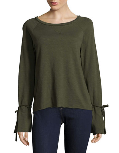 Design Lab Lord & Taylor Tie-Sleeve Cut-Off Sweatshirt-GREEN-Large