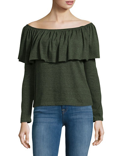 Design Lab Lord & Taylor Off-The-Shoulder Ruffle Top-GREEN-Large