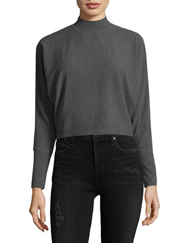Design Lab Lord & Taylor Liza Dolman Knit Top-GREY-Medium