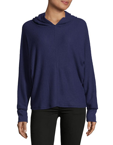 Design Lab Lord & Taylor Waffle Dolman Hoodie-BLUE-Small