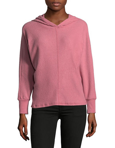 Design Lab Lord & Taylor Waffle Dolman Hoodie-PINK-Medium