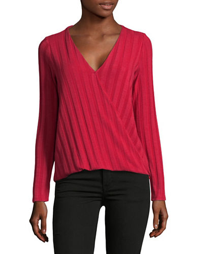 Design Lab Lord & Taylor Linear Knit Top-RED-X-Small