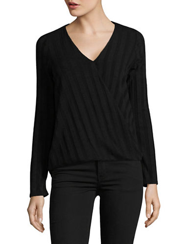 Design Lab Lord & Taylor Linear Knit Top-BLACK-Medium