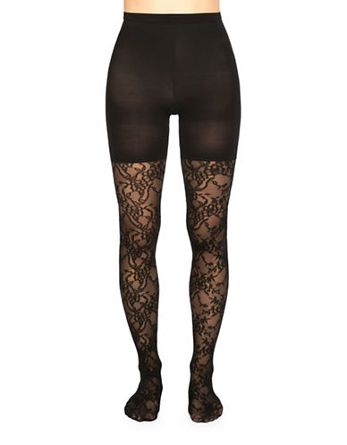 Spanx Lovely Lace Tights-BLACK-E