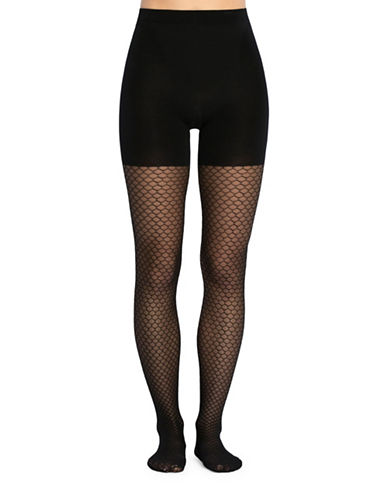 Spanx Honeycomb Fishnet Tights-BLACK-C