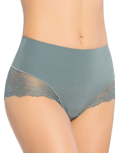 Spanx Lace Hi-Cut Hipster Briefs-INK BLUE-Medium