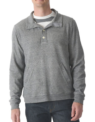 Grayers Jensen Button Mock Pullover-GREY-X-Large