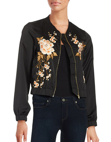 Design Lab Lord & Taylor Floral-Embroidered Bomber Jacket-BLACK-Small 88590350_BLACK_Small