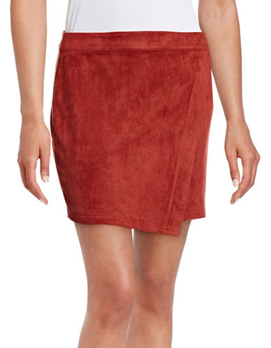 Design Lab Lord & Taylor Asymmetrical Suedette Skirt-ORANGE-X-Small