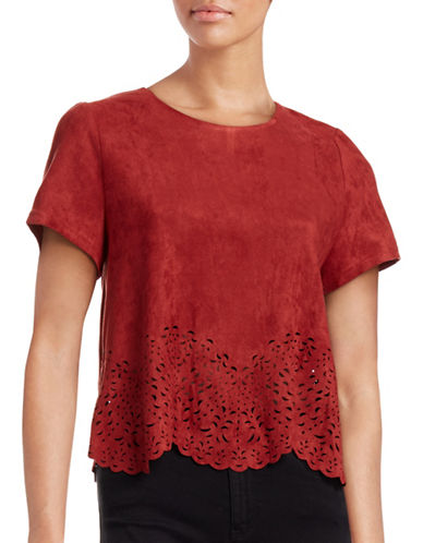 Design Lab Lord & Taylor Laser Cut Faux Suede Top-RUST-Small