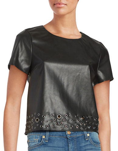 Design Lab Lord & Taylor Faux Leather Grommet Top-BLACK-Small 88665857_BLACK_Small