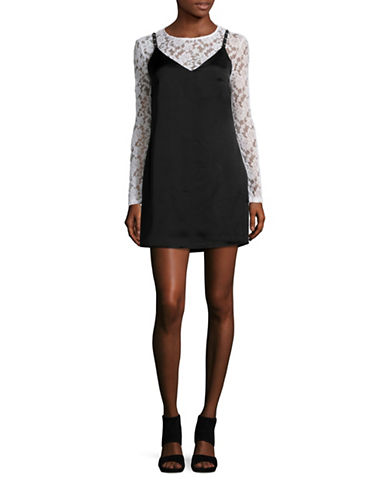 Design Lab Lord & Taylor Long Sleeve Lace and Satin Slip Dress-BLACK-Medium