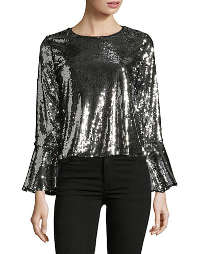 Design Lab Lord & Taylor Sequin Bell Sleeve Top-SILVER-Medium