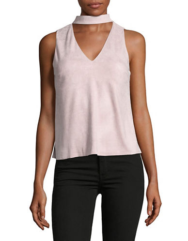 Design Lab Lord & Taylor Faux-Suede Choker Neck Top-PINK-Small