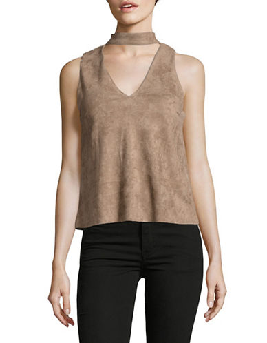 Design Lab Lord & Taylor Faux-Suede Choker Neck Top-GREY-Medium