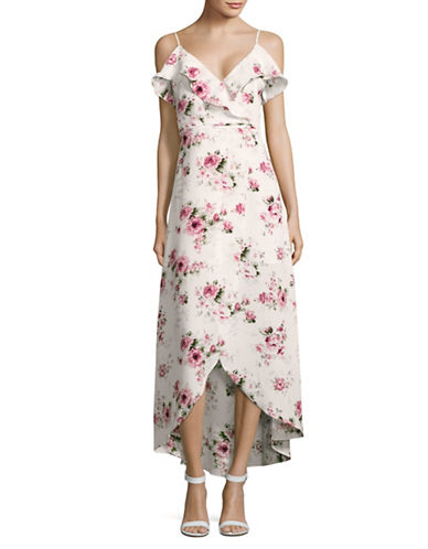 Design Lab Lord & Taylor Floral Faux Wrap Maxi Dress-WHITE-X-Small 89239714_WHITE_X-Small