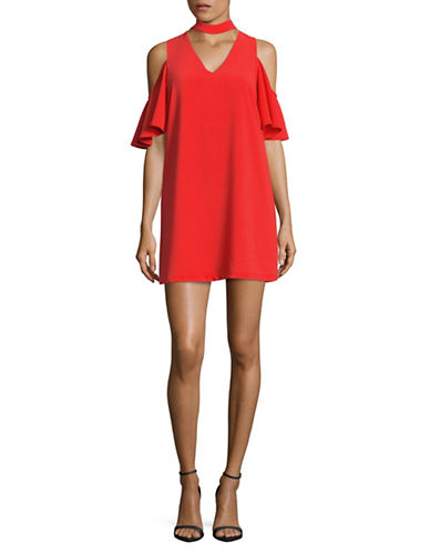 Design Lab Lord & Taylor Cold-Shoulder Choker Dress-RED-Large