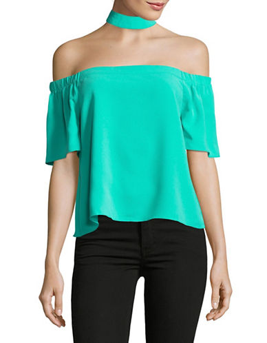 Design Lab Lord & Taylor Off-Shoulder Choker Top-BLUE-Small
