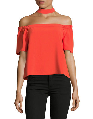 Design Lab Lord & Taylor Off-Shoulder Choker Top-RED-X-Small