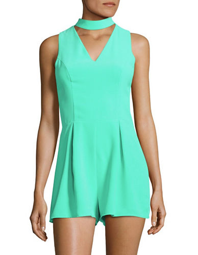 Design Lab Lord & Taylor Sleeveless Choker Neck Romper-BLUE-Large