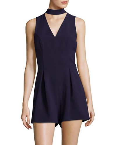 Design Lab Lord & Taylor Sleeveless Choker Neck Romper-NAVY-Medium