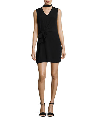 Design Lab Lord & Taylor Choker Neck Shift Dress-BLACK-X-Small