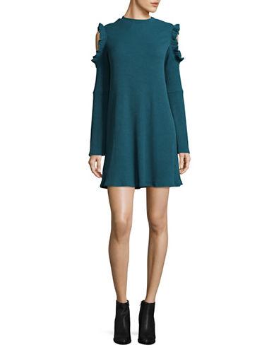 Design Lab Lord & Taylor Cold Shoulder T-Shirt Dress-BLUE-Medium