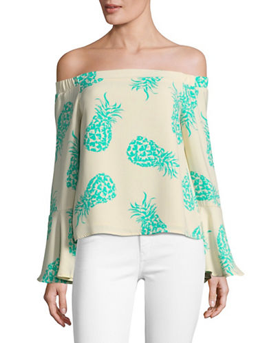 Design Lab Lord & Taylor Pineapple Bell Sleeve Top-TAUPE MULTI-Small