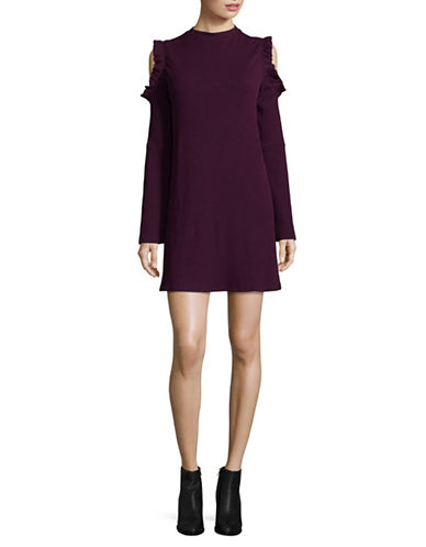 Design Lab Lord & Taylor Cold Shoulder T-Shirt Dress-PURPLE-Small