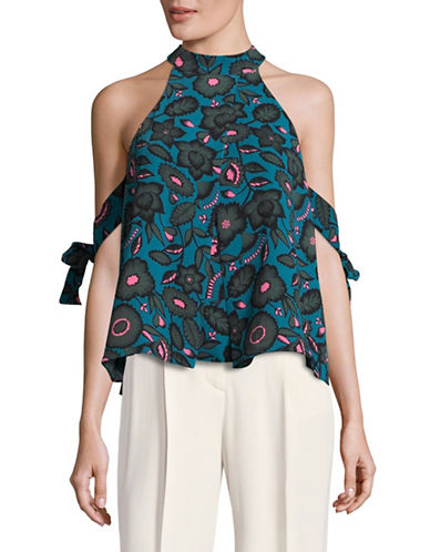 Design Lab Lord & Taylor Cold-Shoulder Halter Neck Top-BLUE MULTI-Small