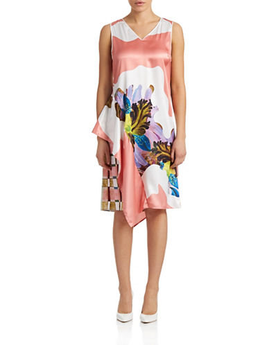 Clover Canyon V-Neck Sleeveless Flutter Dress-PINK-Medium