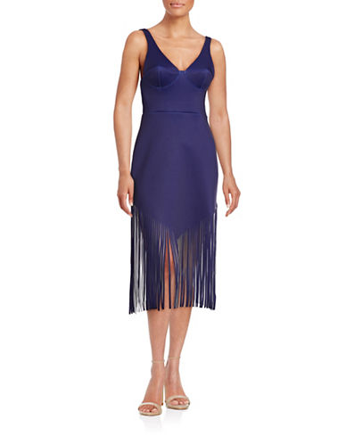 Clover Canyon Plunge Neoprene Fringe Dress-BLUE-Medium