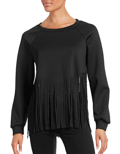 Clover Canyon Fringe Bottom Cropped Sweater-BLACK-Small